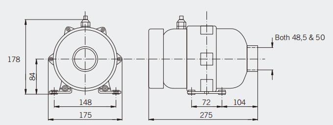 Dimensiones bomba soplante jacuzzi hidromasajes