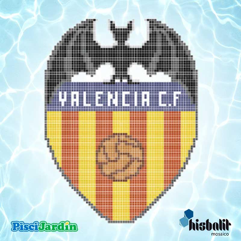 Escudo valencia cf en gresite para piscina piscijardin for Dibujos para piscinas en gresite