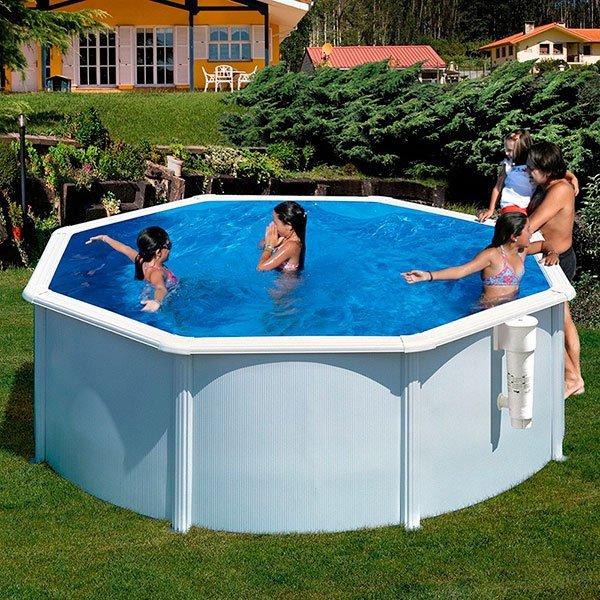 Piscina gre bora bora circular acero blanca alto 120cm for Recambios piscinas desmontables