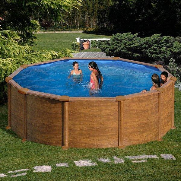 Piscina gre mautirius circular imitaci n madera alto 132cm for Recambios piscinas desmontables