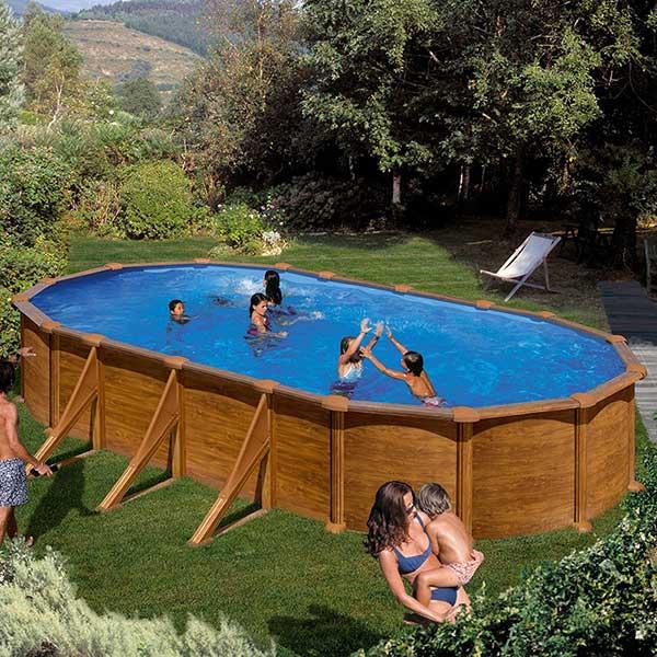 Piscina gre mautirius ovalada imitaci n madera alto 132cm for Ofertas piscinas desmontables acero